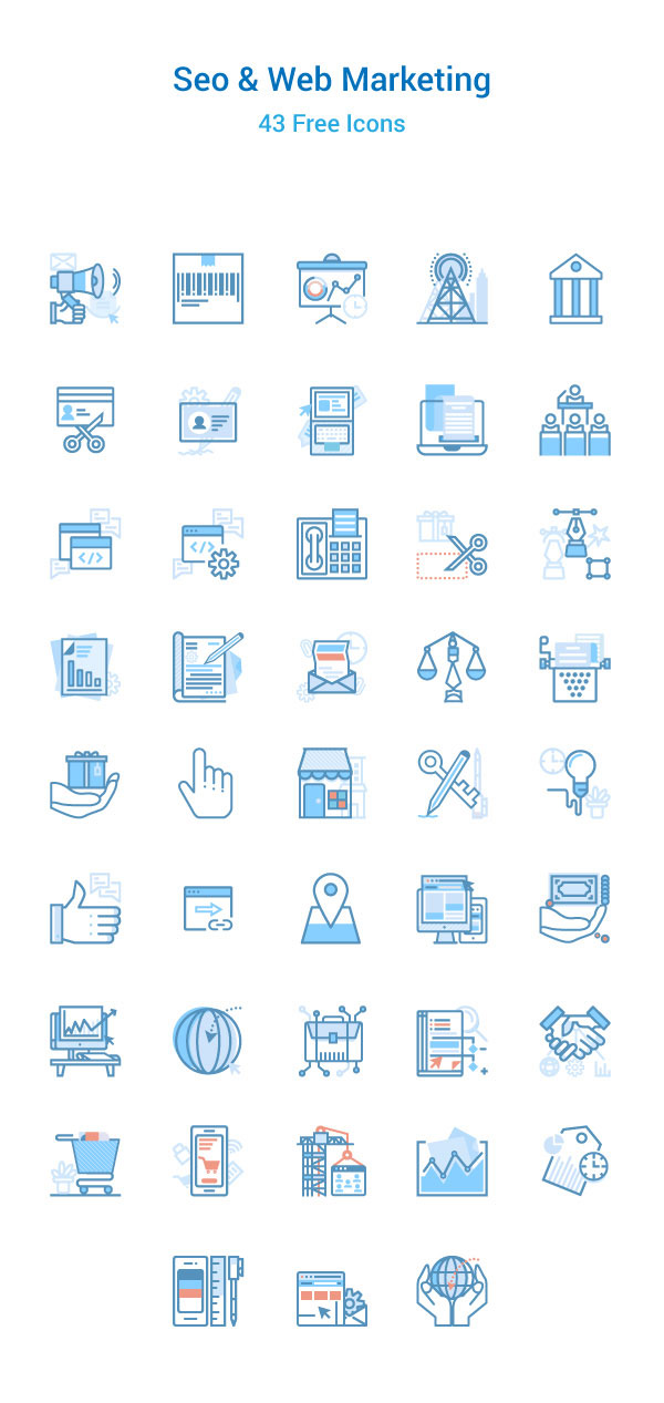 SEO & Web Marketing Icons Set Free Download
