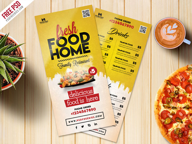 Food Menu Card PSD Template Free Download