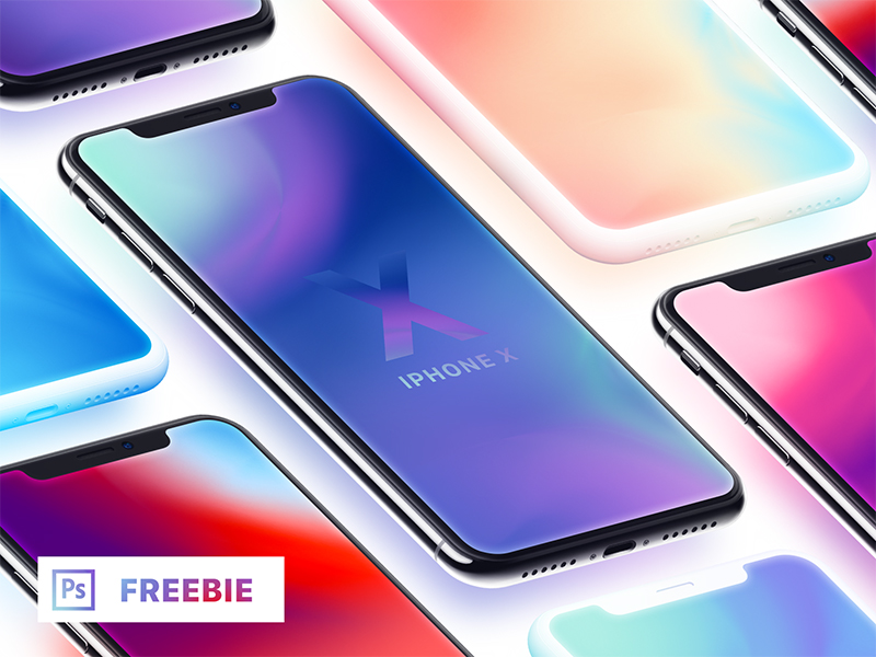 iPhone X - Isometric Mockups + Clay (Freebie)