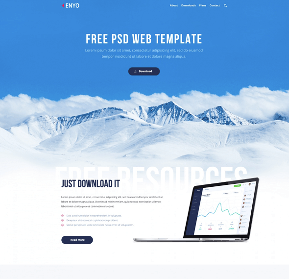 free clean psd web template 2018