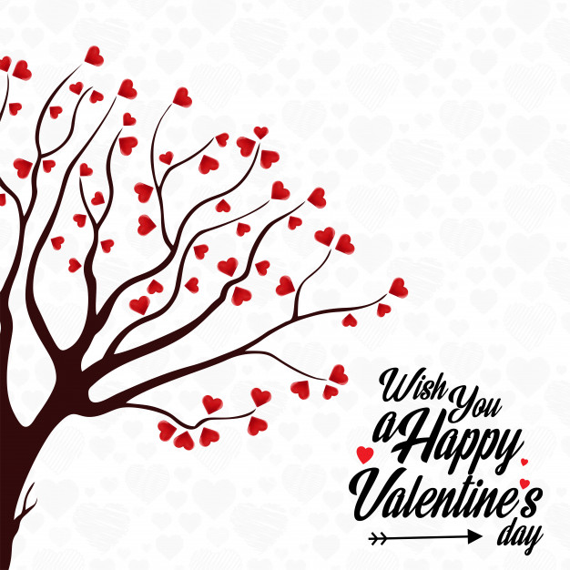 Happy Valentine's Day Heart Tree background Free Vector