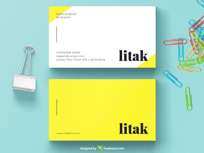 Yellow and white business card psd free download accmission Gallery