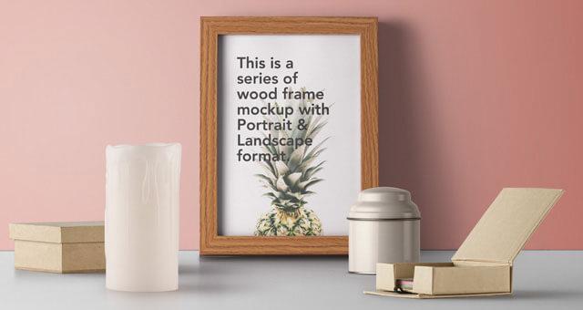 Wood Frame Mockup Free PSD