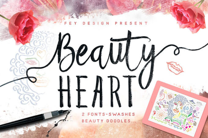 beauty heart wedding font