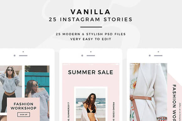 clean Instagram Stories PSD Templates Download