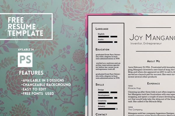 resume template psd free