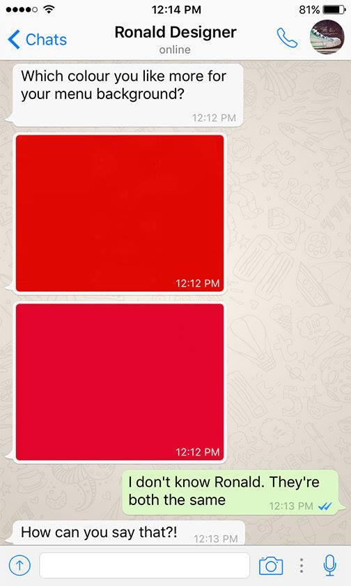 Funny WhatsAppConversation Between Client and Designer