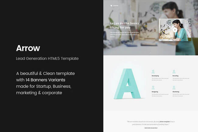 web landing page templates