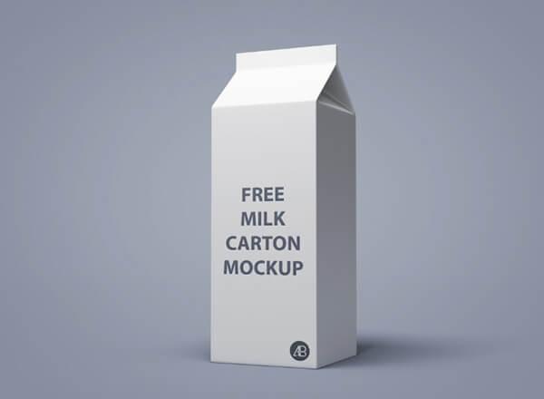milk carton free mockup psd