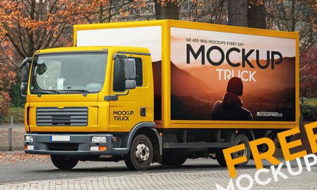realistic truck psd mockup