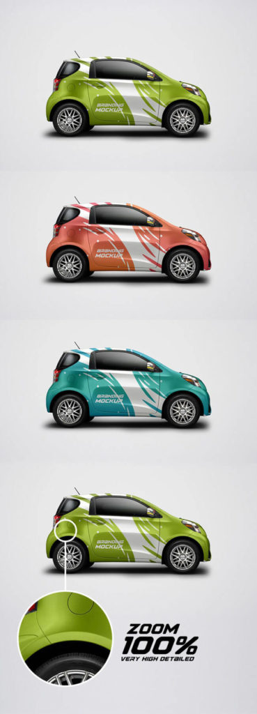 free electric car psd mockup