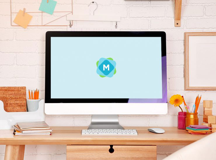 colorful iMac psd mockup