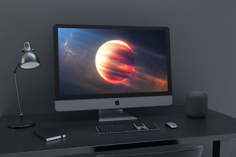 grey iMac mockup psd template
