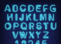 Blue Neon English Alphabet and Numbers Vector Free