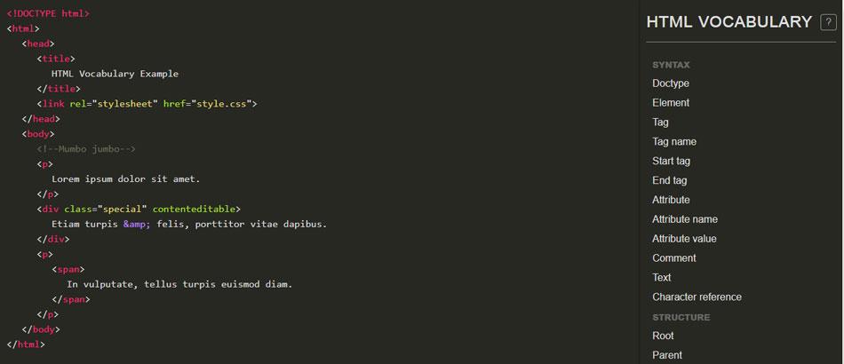 html vocabulary cheatsheet
