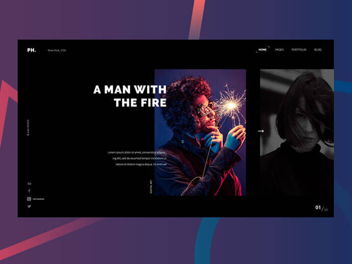 photography dark web ui design