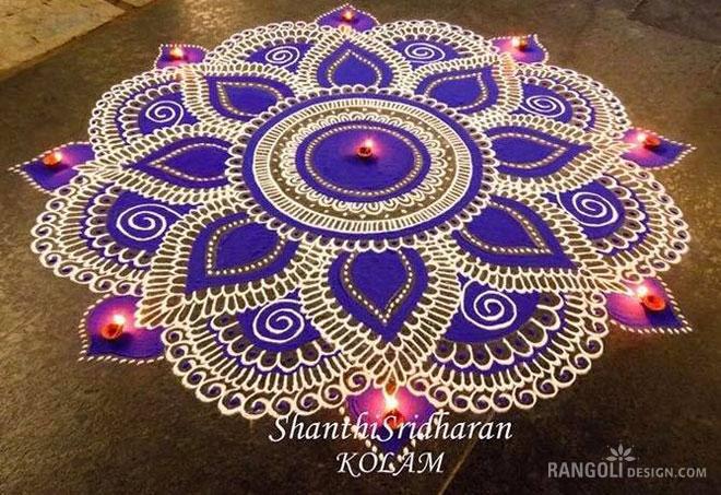 purple flower diwali rangoli design