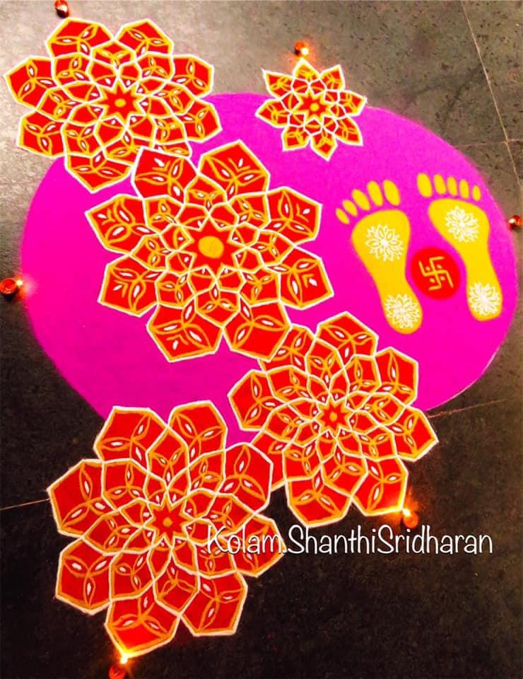 foot print rangoli design