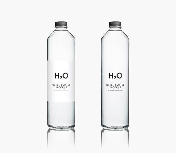 cylindrical transparent water bottle mockup psd