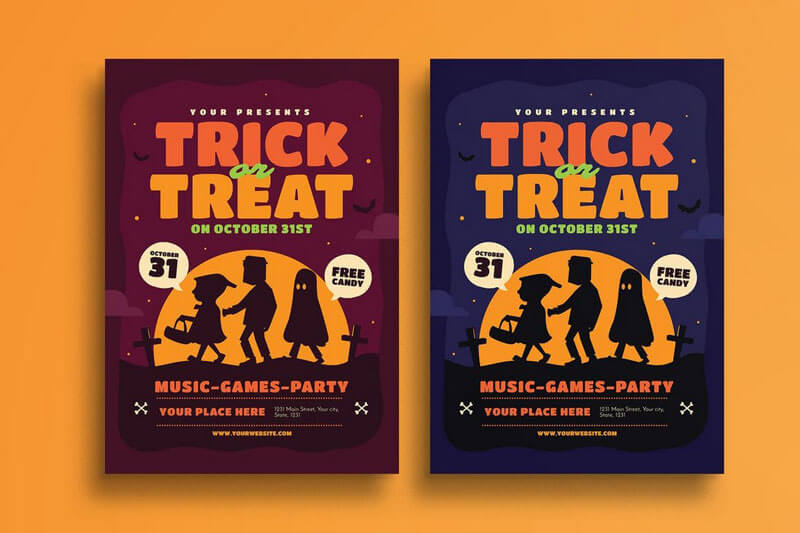 Halloween Trick or Treat Flyer Templates