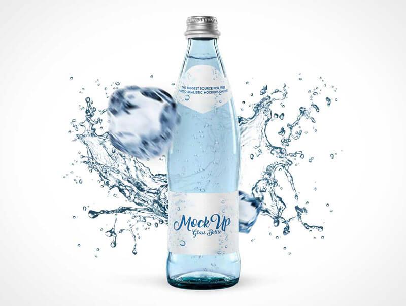 Splashing water bottle mockup