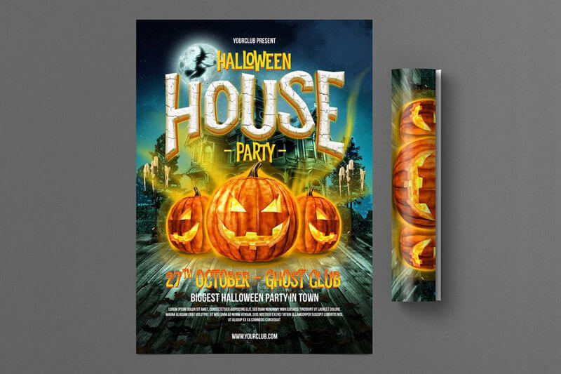 Halloween House Party Flyer Templates