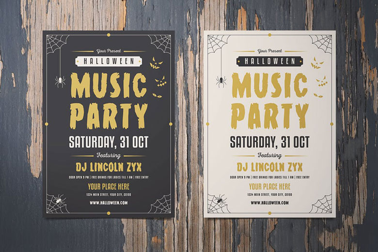 Music Party Halloween Flyer Templates