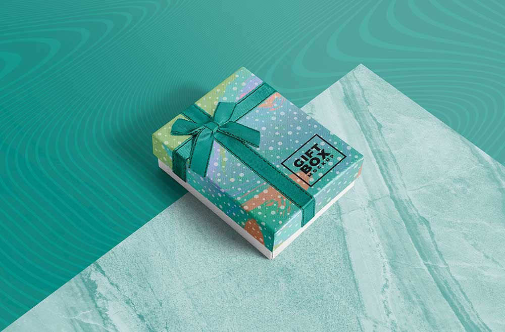 Realistic Gift Box Mockup Free Download