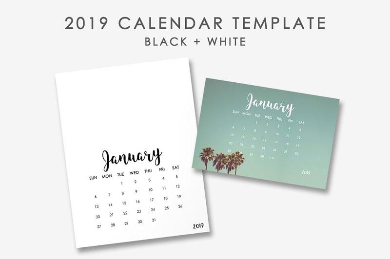 Minimal Calender Templates 2019