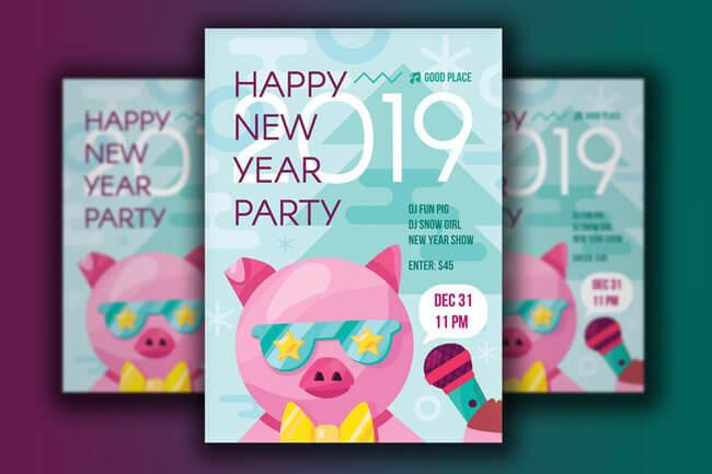 Happy New Year vector Flyer Templates