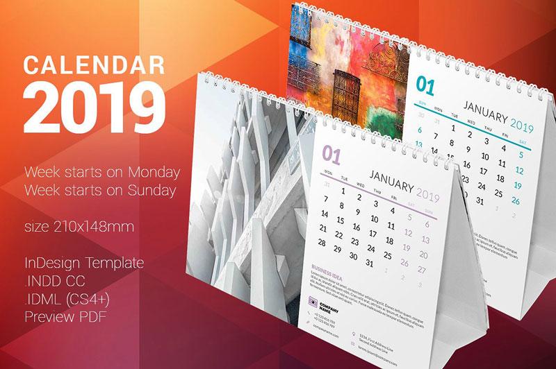 Desk Calender Templates 2019