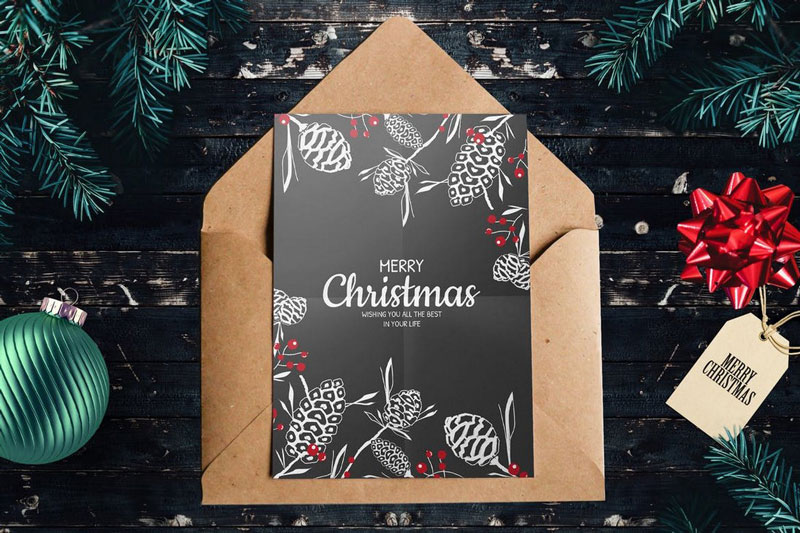 Black and White Christmas Card PSD Template