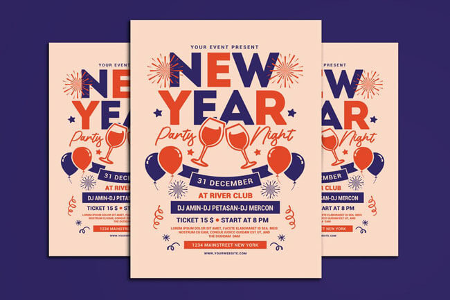 Happy New Year 2019 Flyer Templates