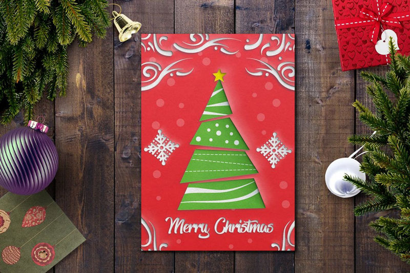 Red Christmas Card PSD Template