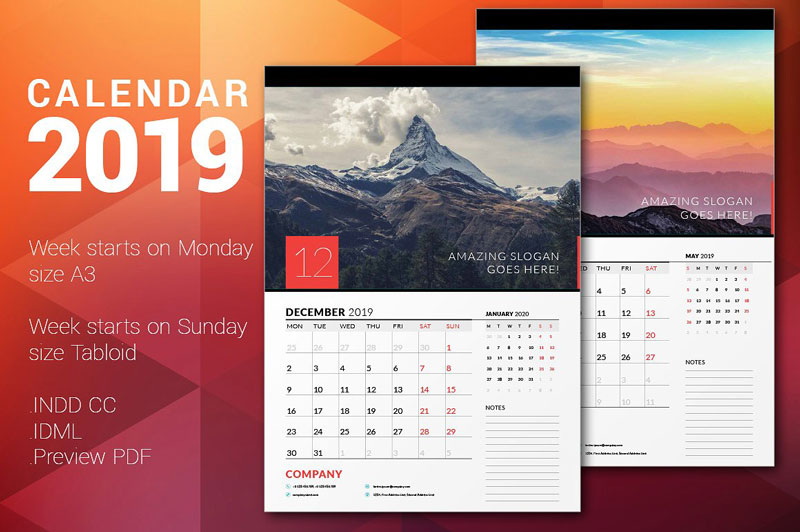 simple 2019 Calender Templates