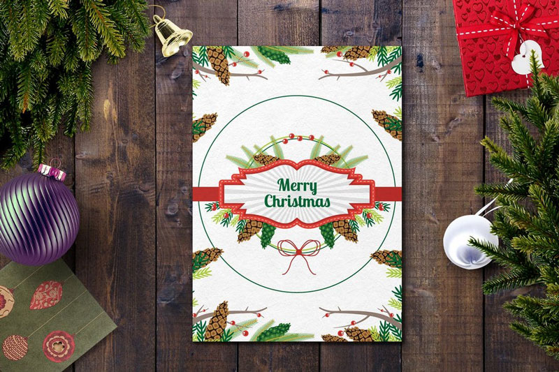 White Christmas Card PSD Template