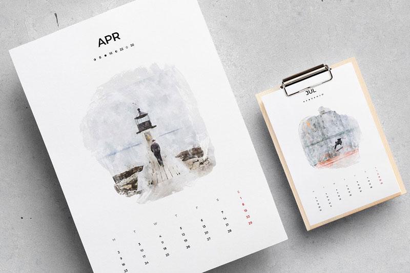watercolor Calender Templates 2019