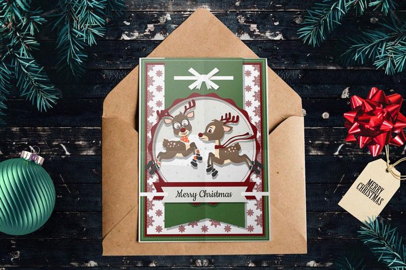 Cute Reindeer Christmas Card PSD Template