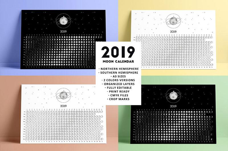 Moon Calender Templates 2019