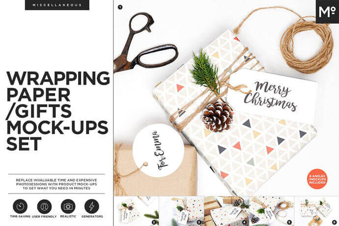 Wrapping Paper Gifts Scene Generator Mockups