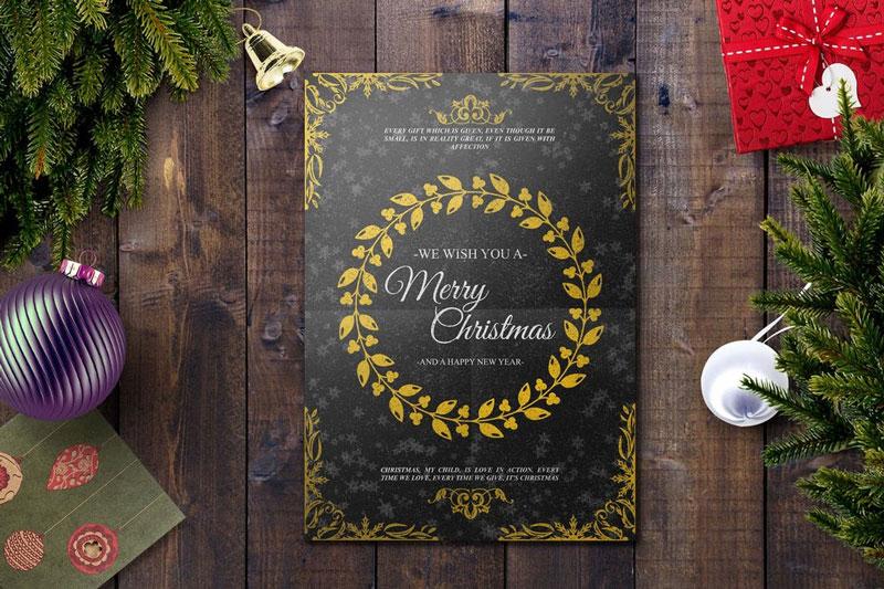 Stylish Christmas Card PSD Template