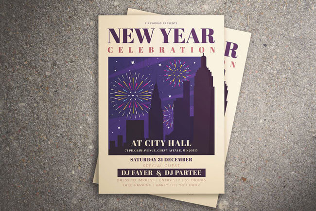 Happy New Year simple Flyer Templates