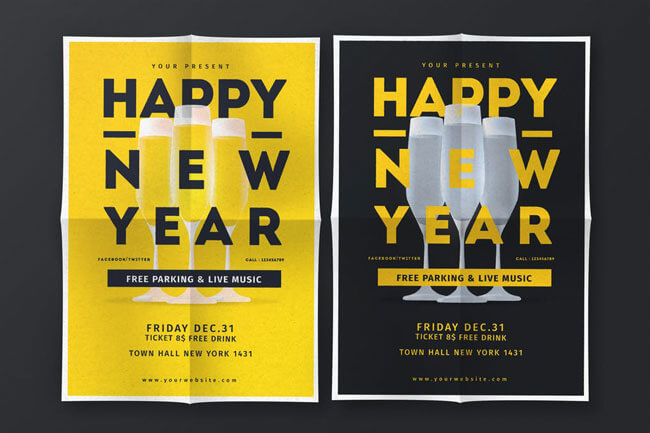 Happy New Year Live Music Flyer template