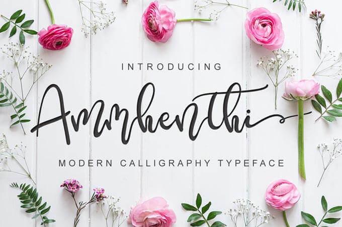 modern style wedding font