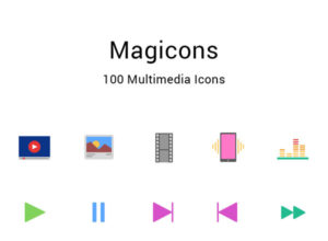 Free Multimedia Flat Icons Set