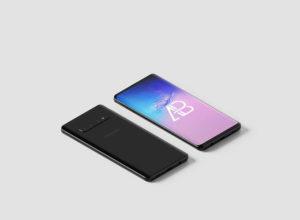 Samsung Galaxy S10 Isometric PSD Mockup