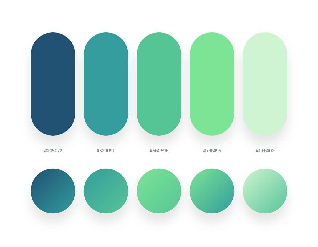 Beautiful Color Palettes With Their Similar Gradient Palettes
