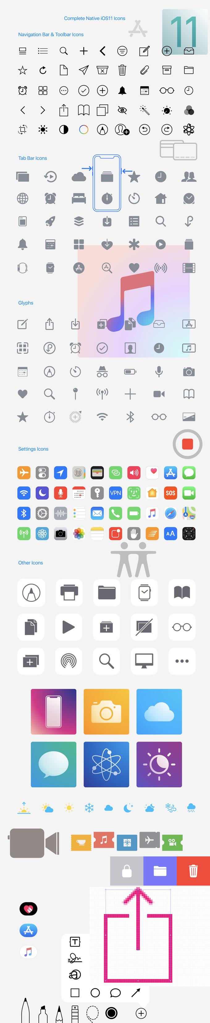 Free Native iOS10 & iOS11 Icons Pack