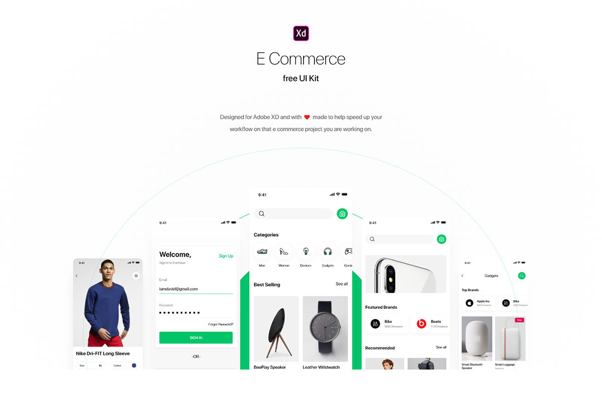 free Shopping E-commerce Adobe XD UI template