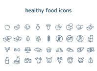 minimal design food icons vector